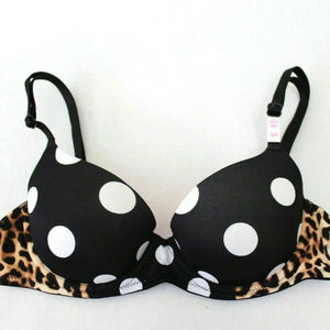 VS PINK Leopard Polkadot Lightly Lined Bra 32A
